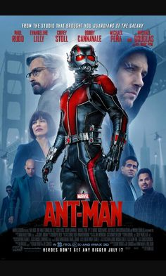 Original poster of Ant-Man, he is on the logo Marvel, he's very small
