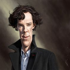 Caricatura de Benedict Cumberbatch como Sherlock