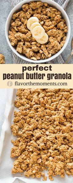 Perfect Peanut Butter Granola is a healthy peanut butter granola recipe with no refined sugar, minimal oil and big peanut butter flavor! Granola Maison Healthy, Healthy Granola Bars, Vegan Granola, Peanut Butter Granola, Gluten Free Granola, Healthy Peanut Butter, Peanut Butter Recipes, Homemade Sugar Free Granola, Healthy Homemade Granola