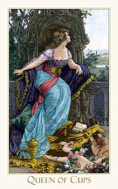 Victorian Romantic Tarot,The Queen of Cups