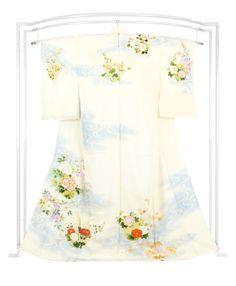 【吉川染匠】 本格京友禅刺繍訪問着 「流水四季花文」