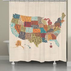 united states map with colorful letters spelling out the states names this bright and cheery curtain makes a fantastic addition to any bathroom dcor
