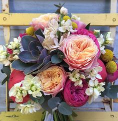 Beautiful bouquet of David Austin roses and succulents Purple Wedding Bouquets, Floral Bouquets, Floral Wedding, Wedding Flowers, Floral Wreath, Bouquet Flowers, David Austin Roses, Wedding Flower Decorations, Amazing Flowers