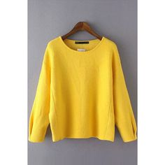 Yellow Pleated Bat Sleeve Round Neck Pullover Sweater ($28) ❤ liked on Polyvore featuring tops, sweaters, yellow, yellow long sleeve top, pullover sweaters, batwing sleeve tops, pleated top and long sleeve batwing top