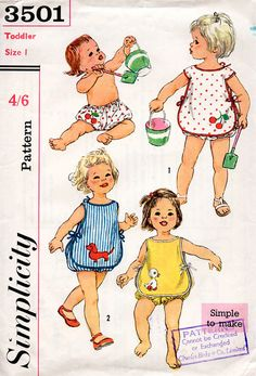 Desperately want these Baby or Toddlers Sunsuit Vintage Sewing Pattern With Transfers - Simplicity 3501 Size 1 Year UNUSED