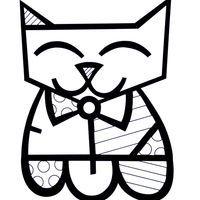 Desenho de Romero Britto gato para colorir