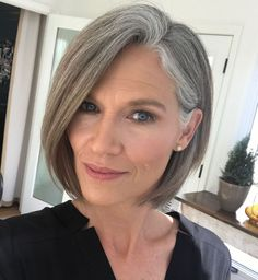 Ponytail Hairstyles Over 50 Classy Side-Parted Chin-Length Bob.Ponytail Hairstyles Over 50 Classy Side-Parted Chin-Length Bob Grey Hair Over 50, Long Gray Hair, Silver Grey Hair, Grey Hair Bob, Grey Hair Haircut, Grey Bob Hairstyles, Hairstyles Over 50, Gorgeous Hairstyles, Scene Hairstyles