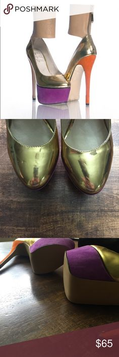 Haus Von Lila Original! Manga gold pumps. Never been worn, only tried on. Have some dings from being stored. See photos. Haus Von Lila Shoes Heels