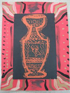 The Paper Pear: Red Figured Greek Pottery Prints by 4th Graders