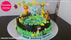 Animal Jungle Birthday Cake Design Ideas Lion Tiger Elephant Giraffe Crocodile Deer Monkey Topper regarding Safari Cake Designs - Cake Design Ideas Cricket Birthday Cake, Jungle Birthday Cakes, Jungle Theme Cakes, Cartoon Birthday Cake, Friends Birthday Cake, Animal Birthday Cakes, Frozen Birthday Cake, Lion Birthday, Animal Cakes