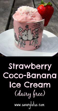 Strawberry Coco-Banana Ice Cream (dairy-free) |  savorylotus.com #paleo #vegan #dairyfree