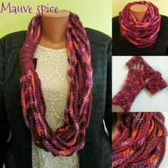 Warm scarf warm mittens infinity loop scarf by ButiculColorat