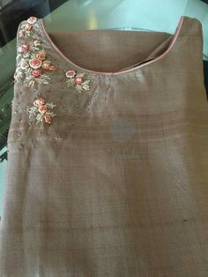 Get this custom made at Royal Threads Boutique. To place an order or for any inquiry feel free to whatsapp us @ or email us at royalthreadsbou This Pin was discovered by Nat Embroidery On Kurtis, Kurti Embroidery Design, Embroidery Neck Designs, Embroidery Suits, Embroidery Fashion, Ribbon Embroidery, Embroidery Stitches, Embroidery Patterns, Churidar Designs
