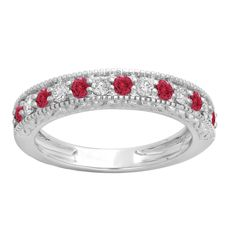 Elora 14k Gold 1/2ct Round-cut Ruby and White Diamond Milgrain Anniversary Band (H-I, I1-I2) (Size 5.5, White Gold), Women's, Red