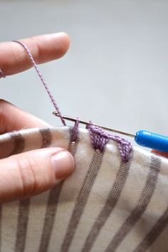 Tutorial on how to crochet an edging on flannel blankets. Perfect for newborn receiving blankets.