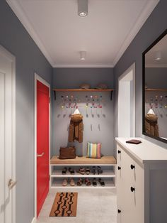 Apartment: Lovely Small Apartment In Moscow Designed By Geometrium, The Entryway Interior Design of Apartment In Moscow Designed By Geometrium showing Gray Wall Paint Color and White Drawer and Huge Wall Mirror also Colorful Wall Coat Rack and Bench Chair and Shoes Rack and Doormat
