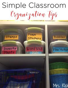 I'm going to share some of my classroom organization tips for keeping it all together in the classroom.  As I have shared before, I have moved my classroom many times.  The first year I moved, I invested in good, sturdy tubs that made it both easy to keep my things organized and easy to move.More