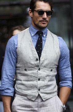 ck David *James *Gandy in blue David Gandy Style, David James Gandy, Casual Outfits, Vest, Jackets, Blue, Dresses, Fashion, Down Jackets