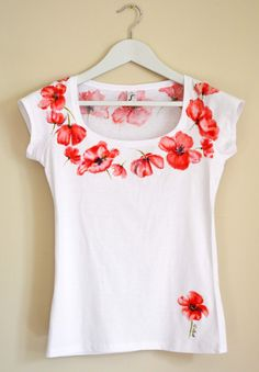 Poppies Hand Painted MYgarden Flowers Women by Christeesandtops