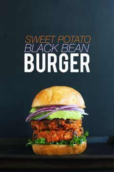 AMAZING 10 INGREDIENT SWEET POTATO BLACK BEAN BURGER! Tender, flavorful, hearty, SO delicious | Minimalist Baker