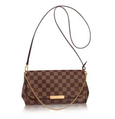 Louis Vuitton | Pochette Favorite MM in Damier Ebene Canvas. I would love to own this little LV gem . . . one day . . . I hope ;)