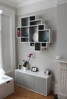Shelving Solution Intersecting Decorative Grey Color Wall Shelf