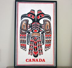"Vintage ""Canada"" Totem Framed Screen Print. $45.00"