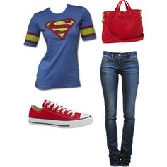 Swap out jeans for a cute jean skirt and add my nerd glasses!! Lol Superhero, created by georgiaprgirl