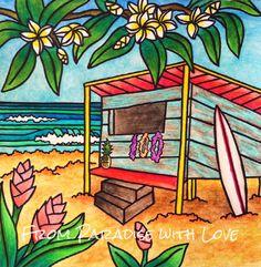 Surf Shack - Hawaii Art - Tropical Beach - Surfer Art - Plumeria ...