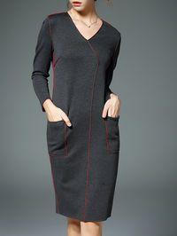 Pockets V-neck Long Sleeve Midi Dress