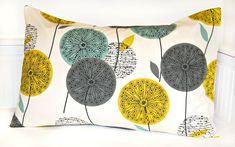 teal grey mustard dandelion decorative by LittleJoobieBoo on Etsy