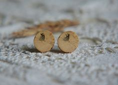 Minimalist wooden earrings natural wooden jewelry by MyPieceOfWood