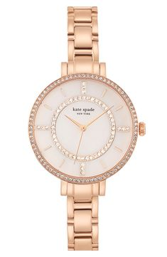 Crystal bezel Kate Spade watch in rose gold.