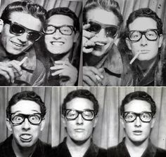 "Buddy Holly and Waylon Jennings in a photo booth at Grand Central Station, NYC. The photos were taken in early 1959, before the two embarked as part of the ill-fated ""Winter Dance Party"" tour."