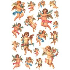 Cherubs with Flower Garlands Rice Paper Decoupage Sheet ~ Italy
