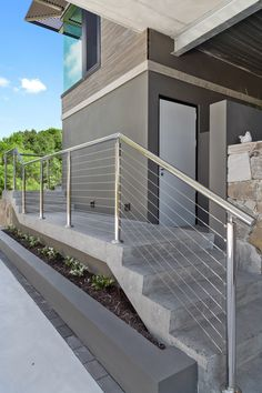 Handrail with wire balustrade.