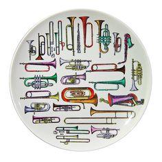 A Vintage Piero Fornasetti Strumenti Musicali Large Plate Piero Fornasetti, Ceramic Tableware, Ceramic Art, Instruments, Large Plates, China Painting, Coaster Set, Interior Inspiration, Creative Design