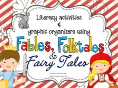 **Updated! Writing prompts and comprehension question cards added for fables, folktales and fairy tales. (color & black/white)**  This packet is the best of both worlds! Included are over 50+ pages of graphic organizers, anchor charts and literacy activities that use fables, folktales and fairy tales!