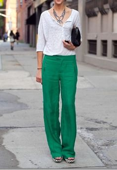 Bright linen trousers.
