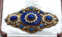 VINTAGE JEWELLERY CZECH FILIGREE NEIGER ENAMEL LAPIS BLUE WAVE GLASS BROOCH/PIN #NeigerBrothers