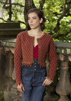 Jane Seymour - knitted bolero cardigan (pattern + yarn) from Alice Starmore. Wow. virtualyarns.com