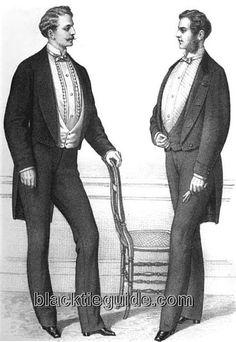 1865 British evening suits (silk lapels & bow ties)