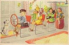 Dutch illustrator Hannie Holt. Driving the bus, or train...