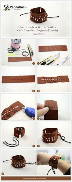Jewelry Making Tutorial-How to Make a Woven Leather Cuff Bracelet | PandaHall Beads Jewelry Blog
