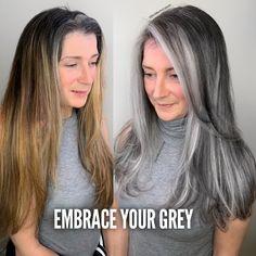 Long Silver Hair, Long Gray Hair, Grey Hair Colors, White Hair Highlights, Pelo Color Plata, Grey Hair Transformation, Grey Hair Inspiration, Grey Hair Don't Care, Gray Hair Growing Out