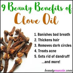 9 Beauty Benefits of Clove Essential Oil for Skin, Hair, Teeth & More - beautymunsta - free natural beauty hacks and more! Coconut Oil Lotion, Coconut Oil For Acne, Natural Coconut Oil, Coconut Oil Uses, Benefits Of Coconut Oil, Clove Oil Uses, Clove Oil Benefits, Clove Oil For Teeth, Health Benefits