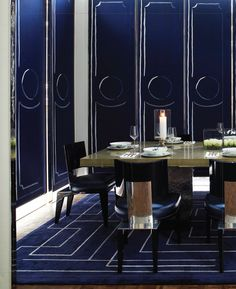 Gorgeous indigo color -- looks handpainted. Designed by David Collins, photographed by Richard Powers and featured in Interiors magazine.
