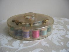 SALE Vintage Tidy Thread Sewing Box With Gold by vintagenowandthen