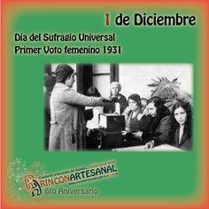 Además de celebrarse hoy algo tan importante como nuestro 6to aniversario, queremos dar a conocer una acontecimiento importantes en la historia de la Mujer, en 1931 se llevo a cabo el primer voto femenino, por eso hoy se conmemora el día del Sufragio Universal, gran logro para e genero femenino.