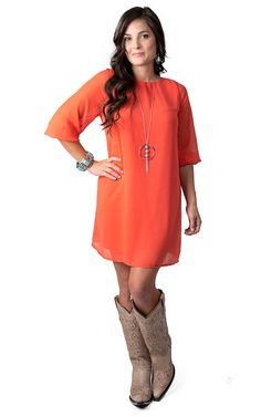 Costa Blanca® Women's Orange Chiffon with Back Tie 3/4 Sleeve Dress